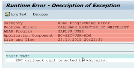 RFC Callback Attacks - RFC Callback Rejected