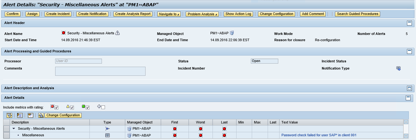 SAP Solution Manager Security Alerts